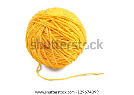 Yellow wool yarn ball isolated on white background - stock photo