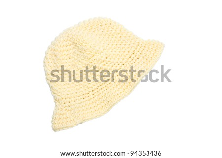 yellow woolen knit hat isolated on white background - stock photo
