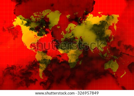 Yellow world map on red background and black smoke all over the world representing the world in chaos - stock photo
