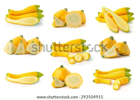 yellow zucchini on white background - stock photo