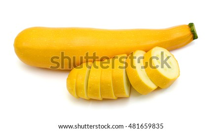 Yellow zucchini vegetables isolated on white