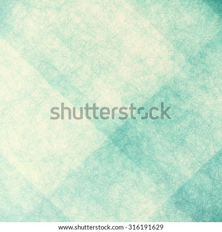 yellowed old faded blue green background with white angled blocks and stripes in abstract pattern with vintage scratch texture design and faint detailed brush strokes - stock photo