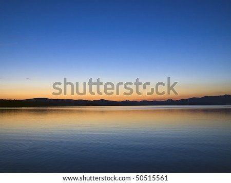 Yellowstone Lake at Dawn, Yellowstone National Park, Wyoming - stock photo