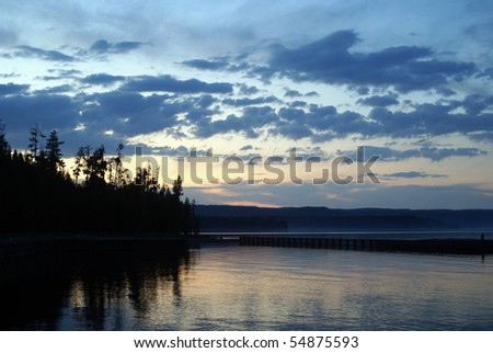 Yellowstone Lake at Sunset - stock photo