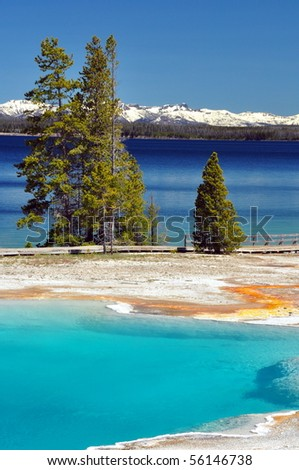 Yellowstone Lake & thermal pools, Yellowstone National Park - stock photo