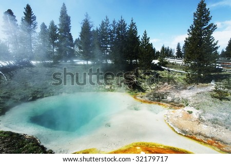 Yellowstone,Mammoth Hot Spring - stock photo