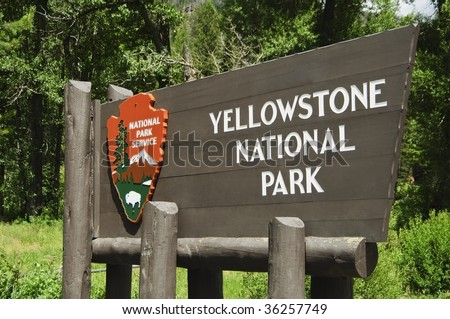 Yellowstone National Park entrance sign - stock photo