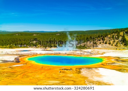 Yellowstone National Park.  Grand Prismatic Spring elevated view.