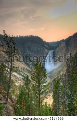 Yellowstone National Park. Waterfall - stock photo