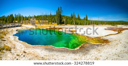 Yellowstone National Park, Wyoming.  Prismatic spring.  Abyss Pool at West Thumb. - stock photo
