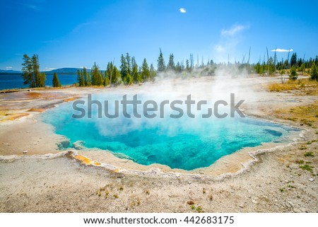 Yellowstone National Park, Wyoming, USA.  Prismatic spring.  Abyss Pool at West Thumb. - stock photo