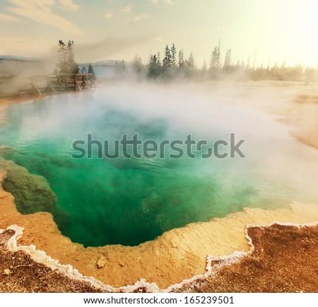 Yellowstone Park,Hot pool - stock photo