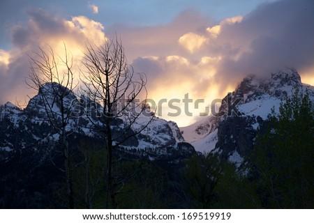 Yellowstone Park Winter Sunset - stock photo