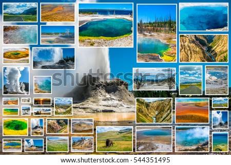 Yellowstone pictures collage of different locations landmark of Yellowstone National Park, Wyoming, United States. Castle Geyser erupts with hot water and steam in background.