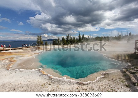 Yellowstone thermal pool - stock photo