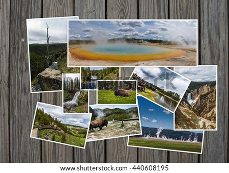 Yellowstone travel tourism concept design - collage of Yellowstone images on wooden background - stock photo