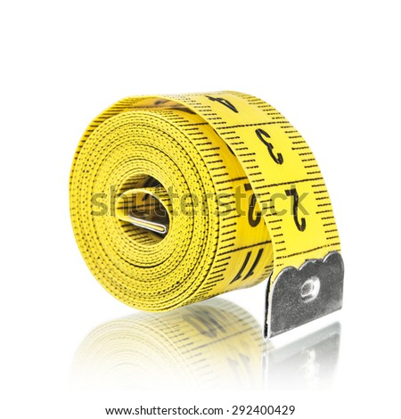 Yelow measuring tape, isolated on white - stock photo