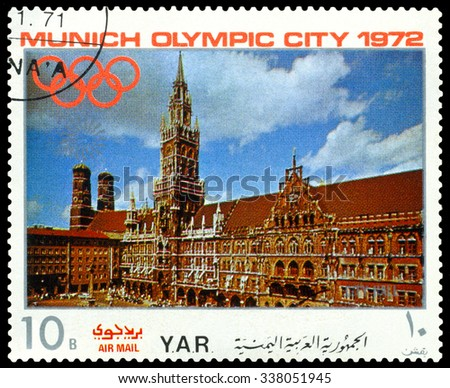 YEMEN - CIRCA 1972: a stamp printed by Yemen shows  sights of Munich, City  Hall, Olympic games in Munich,  Germany, circa 1972 - stock photo