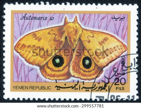 "YEMEN - CIRCA 1990: A Stamp printed in Yemen shows a series of images ""Tropical Butterflies"", circa 1990  - stock photo"