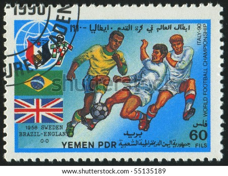 YEMEN - CIRCA 1990: stamp printed by Yemen, shows soccer players and ball, circa 1990.
