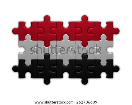 Yemen flag assembled of puzzle pieces isolated on white background - stock photo