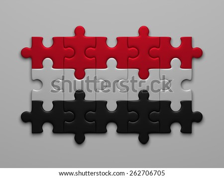 Yemen flag assembled of puzzle pieces on gray background - stock photo