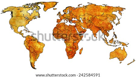 yemen flag on old vintage world map with national borders - stock photo