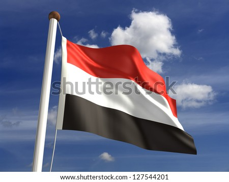 Yemen flag (with clipping path) - stock photo
