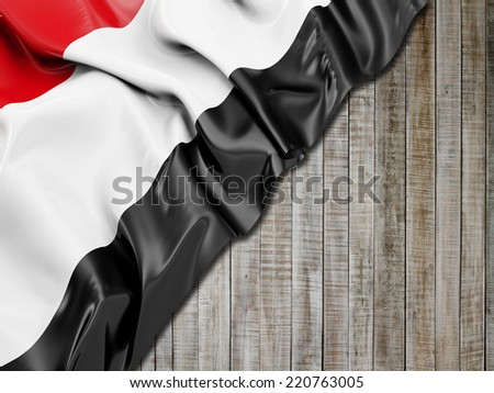 Yemen Flag with vertical wood