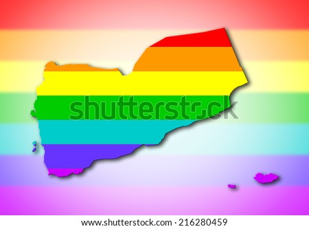 Yemen - Map, filled with a rainbow flag pattern - stock photo