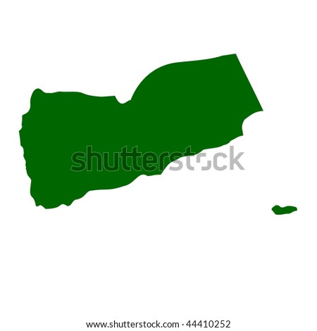 Yemen map isolated on white background. - stock photo