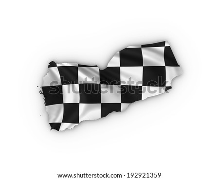 Yemen map showing a checkered flag . High quality 3D illustration. - stock photo
