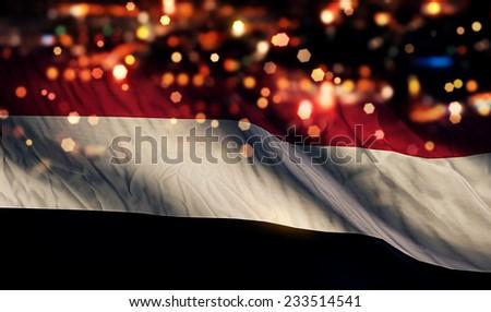 Yemen National Flag Light Night Bokeh Abstract Background - stock photo