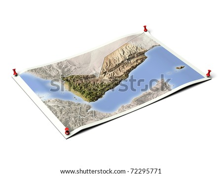 Yemen on unfolded map sheet with thumbtacks. Map colored according to vegetation, with borders. Includes clip path for the background. - stock photo