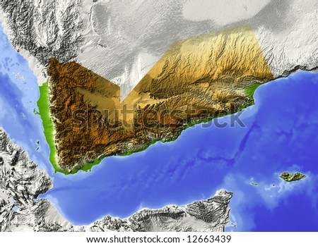 Yemen. Shaded relief map. Surrounding territory greyed out. Colored according to elevation. Includes clip path for the state area. - stock photo