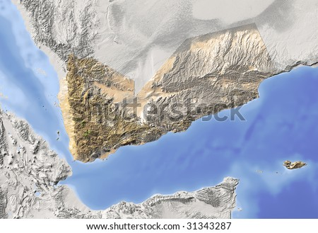 Yemen. Shaded relief map. Surrounding territory greyed out. Colored according to vegetation. Includes clip path for the state area. - stock photo