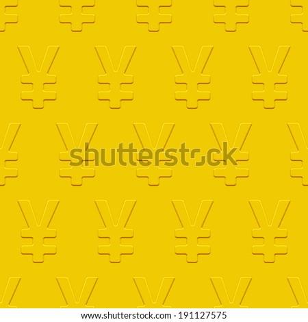Yen and yuan seamless pattern on a gold plate  - stock photo
