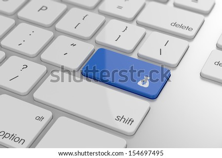 Yen bag sign button on keyboard with soft focus