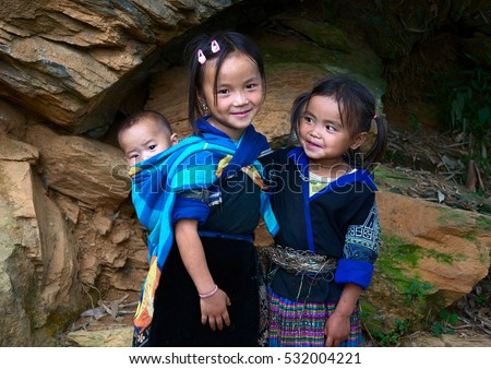 YEN BAI, VIETNAM, September 27, 2016 Hmong group of children, highland Yen Bai, Vietnam, friendly, cute