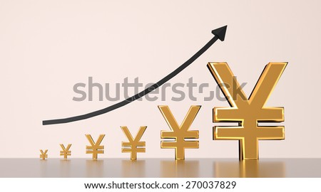 Yen currency growing graph with arrow. - stock photo