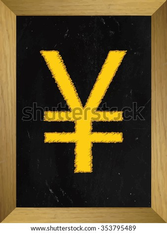 Yen Currency Sign on a Chalkboard - stock photo