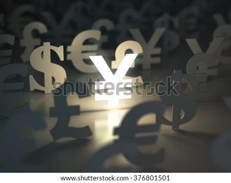 Yen, dollar, euro, and pound  signs. Currency exchange concept. 3d - stock photo