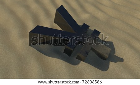 yen face down in the sand - stock photo