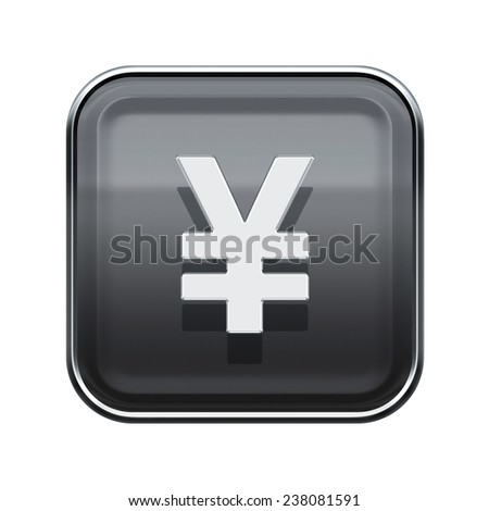 Yen icon glossy grey, isolated on white background - stock photo