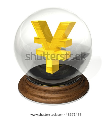 Yen sign in a crystal ball on a round brown pedestal