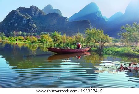 Yen stream on the way to Huong pagoda in autumn, Hanoi, Vietnam - stock photo