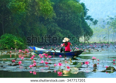 Yen stream on the way to Huong pagoda in autumn, Hanoi, Vietnam. Vietnam landscapes.