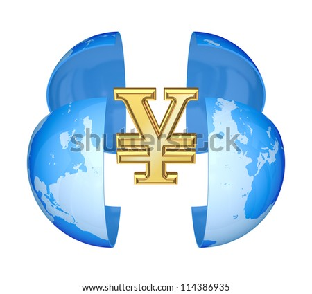 Yen symbol and globe.Isolated on white background.3d rendered. - stock photo