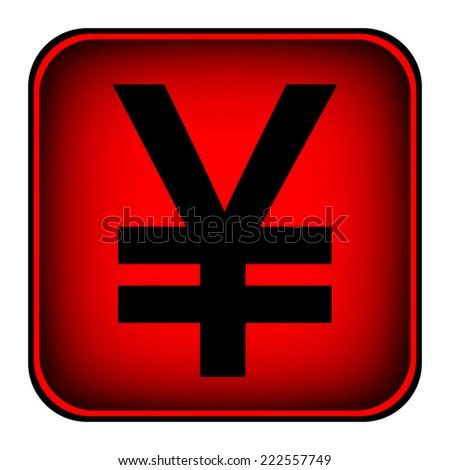 Yen symbol icon on white background. - stock photo