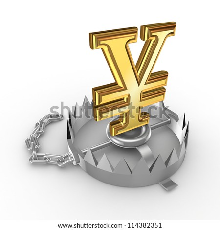 Yen symbol in a trap.Isolated on white background.3d rendered. - stock photo